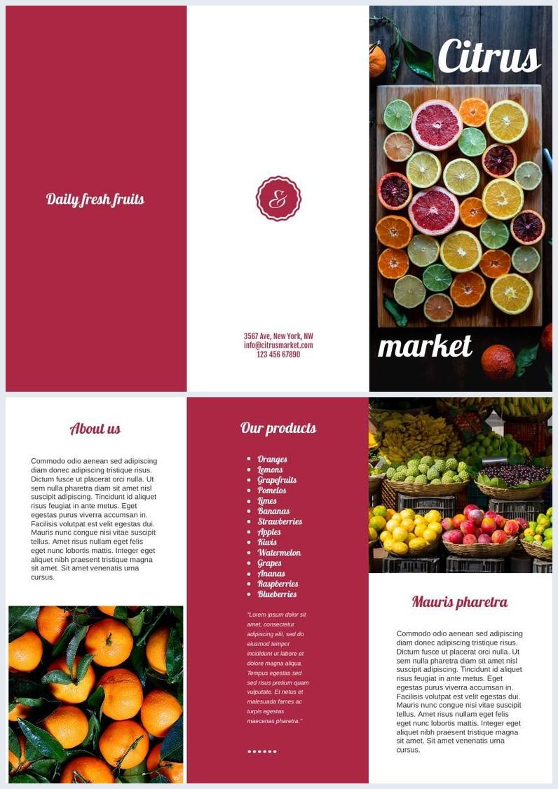Modèle de brochure à trois volets fruits et légumes