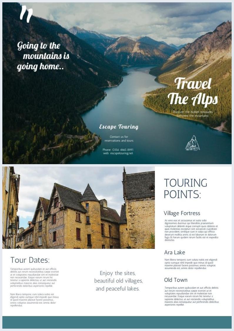 Modèle de brochure à trois volets de voyage en montagne