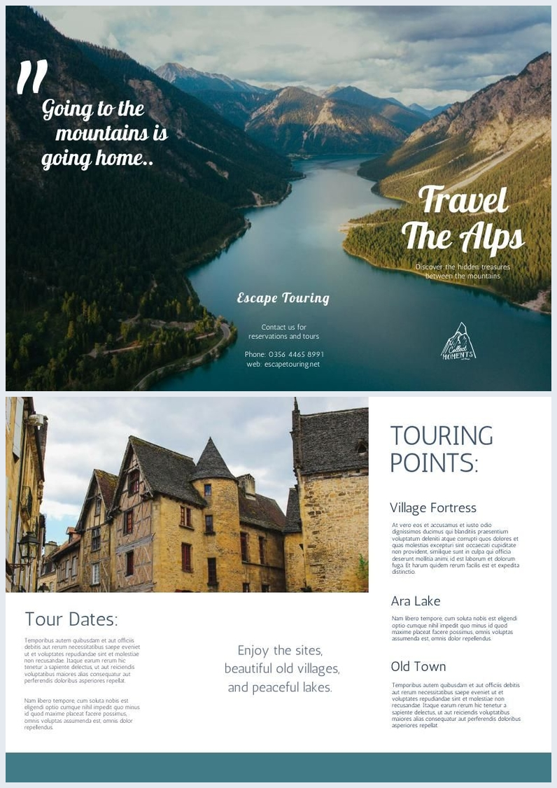 Alpine / Mountain Travel Tri Fold Brochure Template