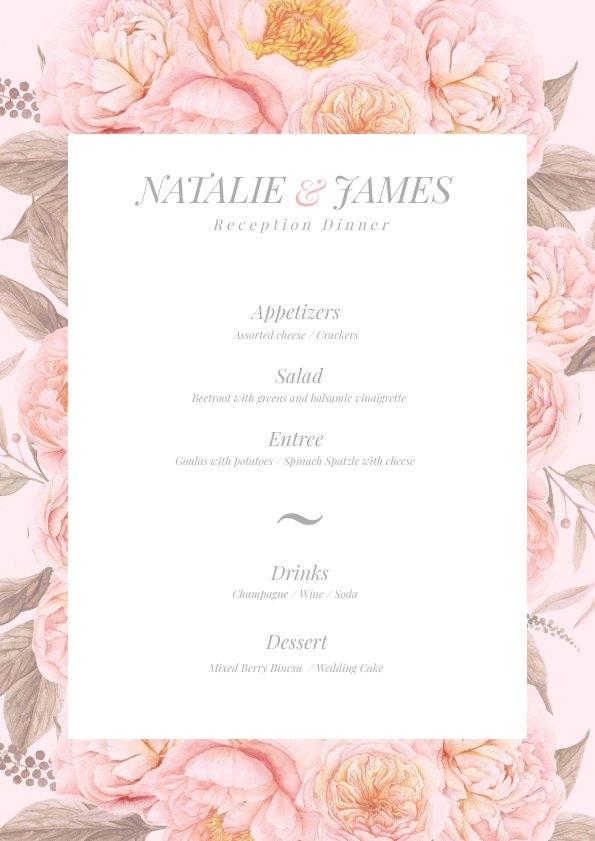 Modèle de menu de mariage floral rose pastel