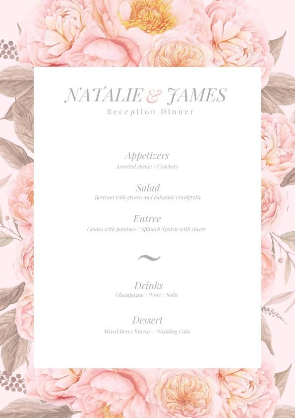 Pastel Pink Floral Wedding Menu Template