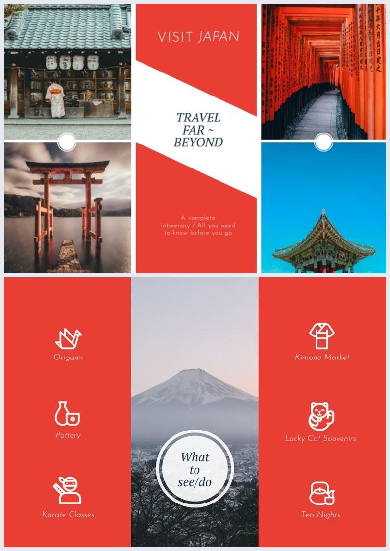 Modelo e Design de Brochura de Turismo com Três Dobras