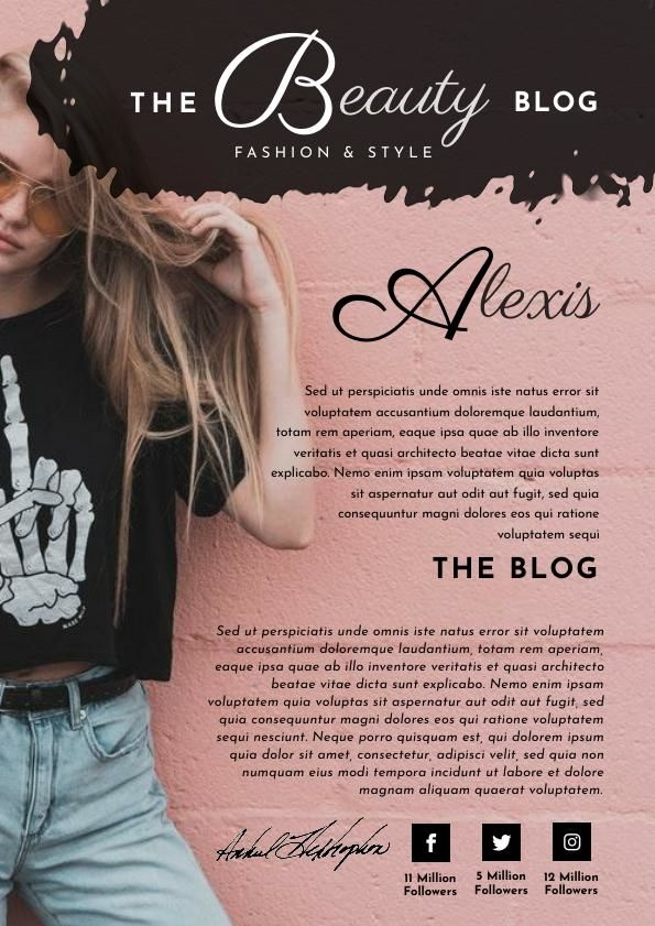 Roségold Blogger Media Kit Vorlage & Design