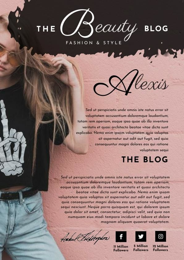 Rose Gold Blogger Media Kit Template & Design