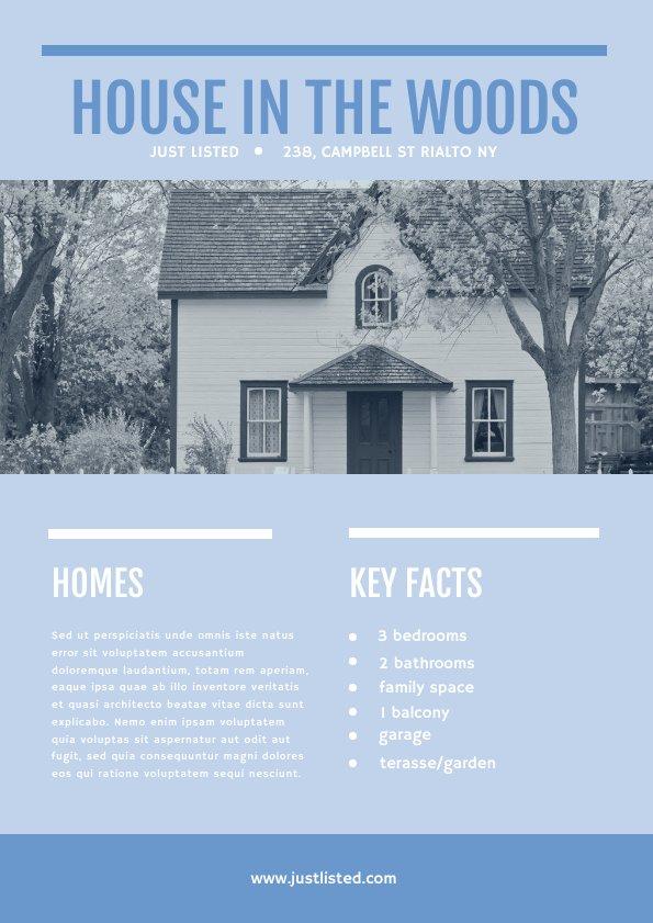 Verkaufs-Flyer-Vorlage für den Verkauf eines Hauses