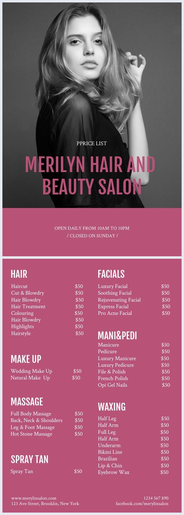 Beauty Salon Price List Design
