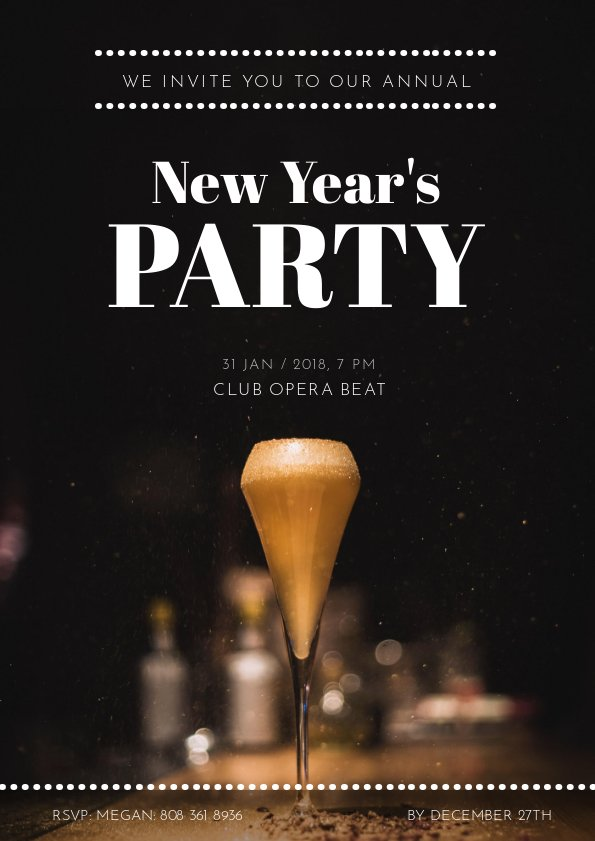 New Year Party's Invitation Flyer Design