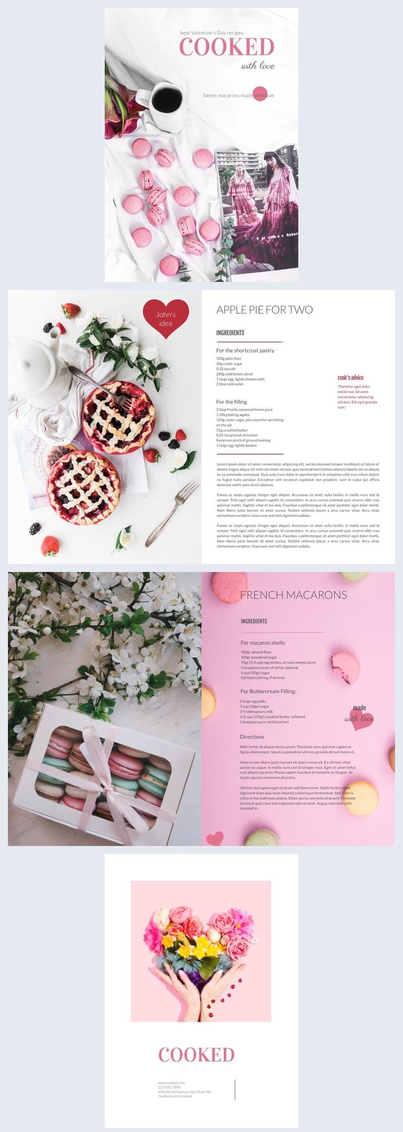 Modèle de livre de recettes de desserts