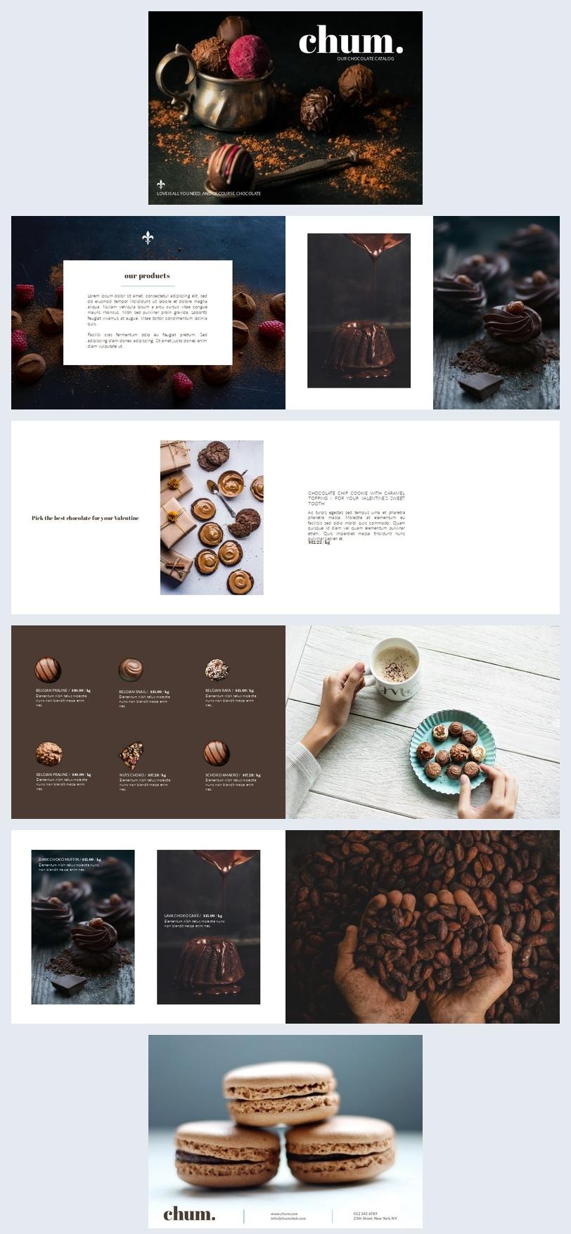 Modello mozzafiato di opuscolo per cioccolateria