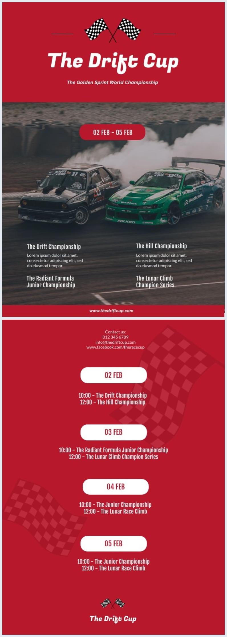 Modello di volantino per programma di corse automobilistiche