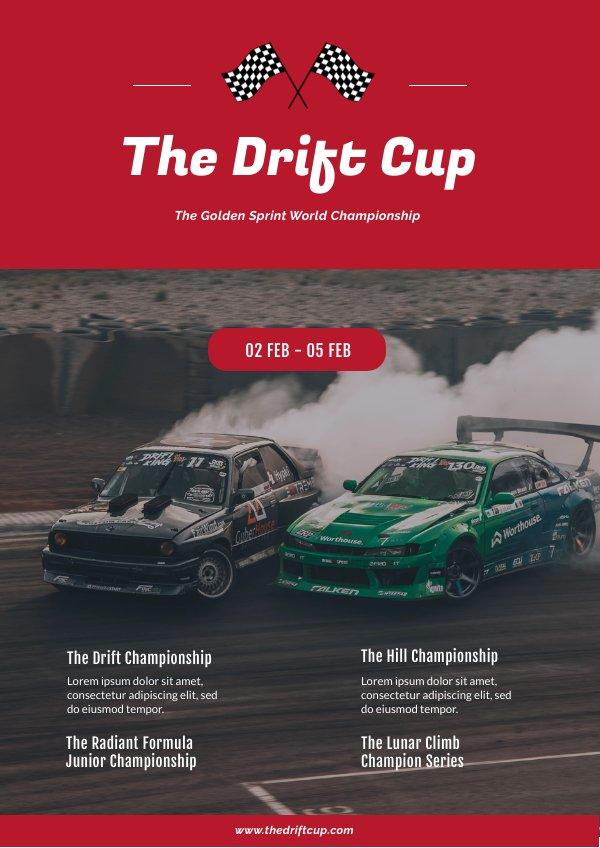 Plantilla para volante de Programa de carrera de autos