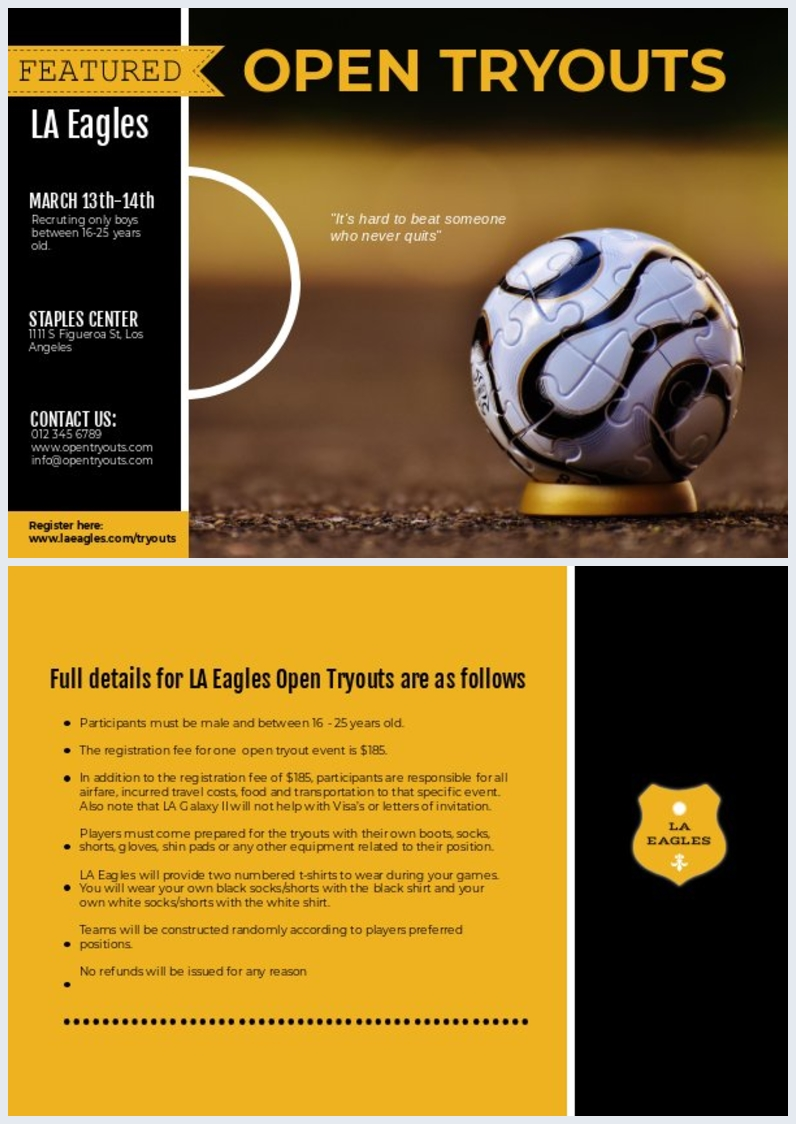 sport  u0026 football tryout flyer template