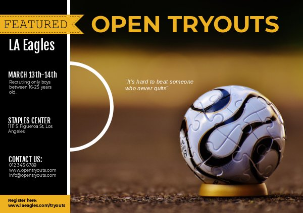 Sport & Football Tryout Flyer Sjabloon