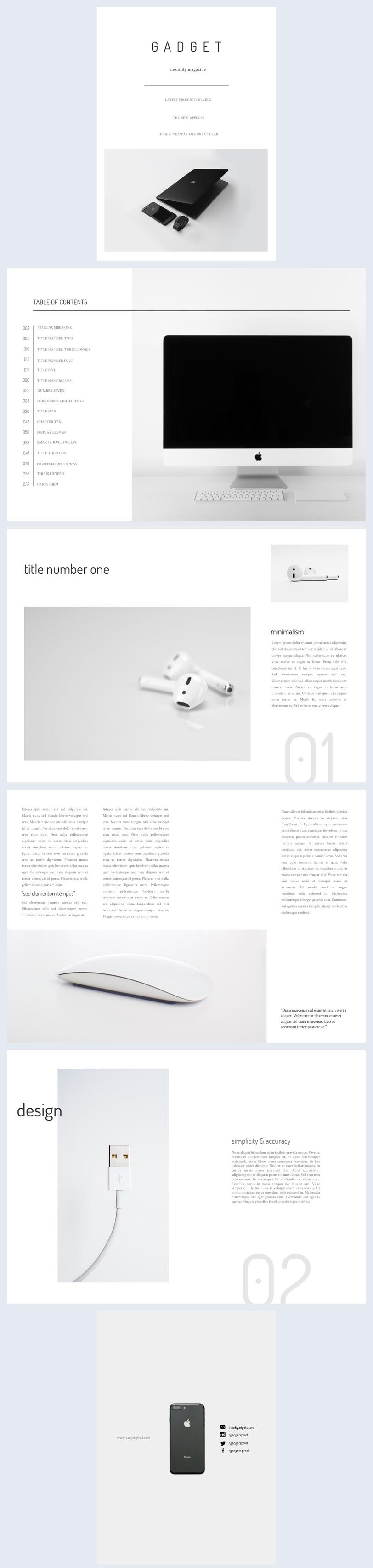 Gadgets Minimalistisch Tijdschrift Sjabloon