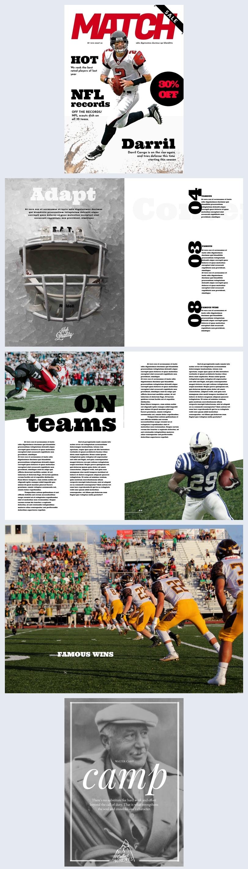 Modello per rivista di football americano