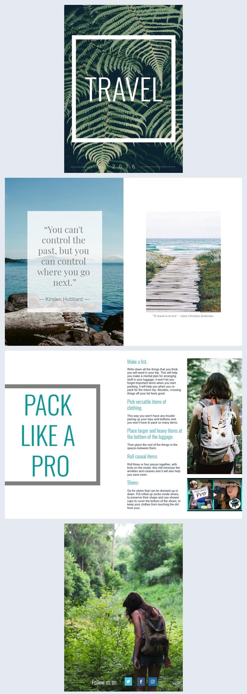 Modello gratuito per album fotografico di viaggio online