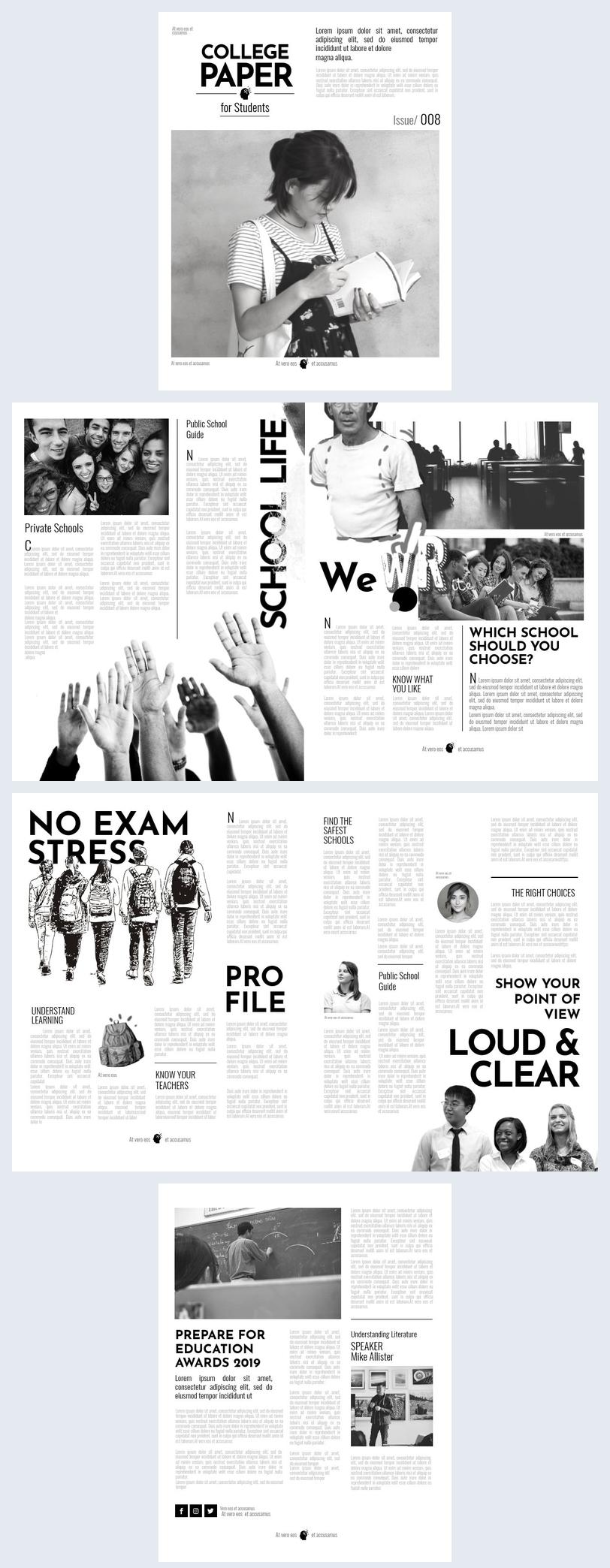 Plantilla moderna para periódico universitario
