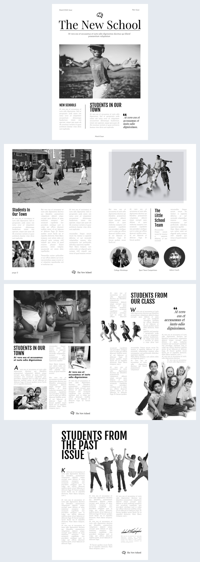 Black & White School Newspaper Template