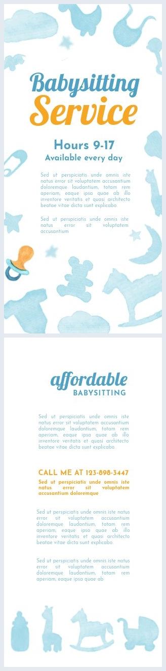 Modèle de flyer publicitaire babysitting