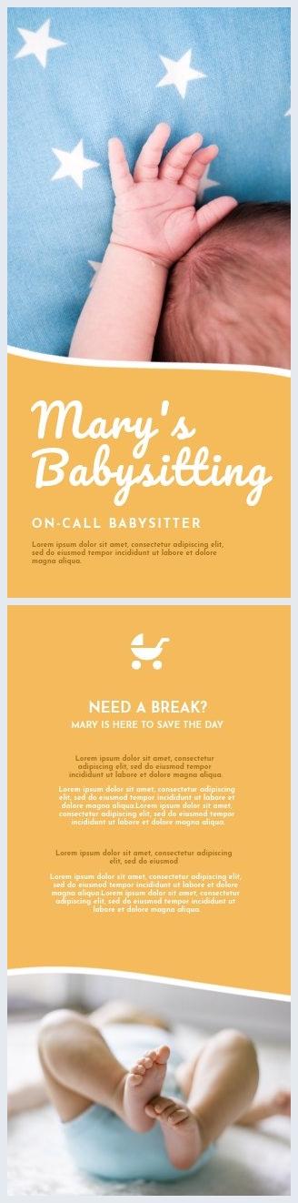 Design modèle de flyer coloré babysitting