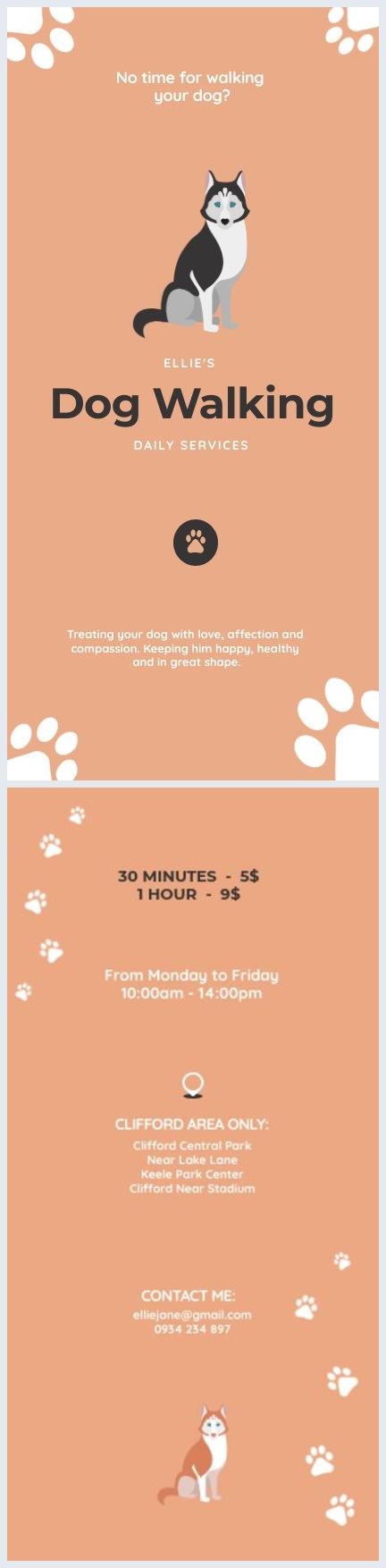 Plantilla para volantes de servicios de paseo de perros