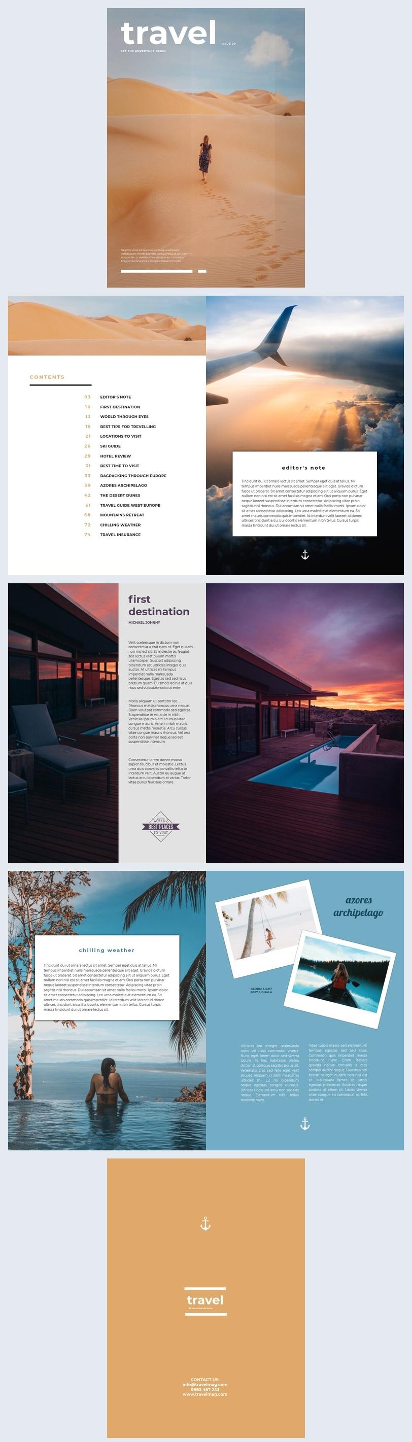 Design mozzafiato per rivista di viaggi