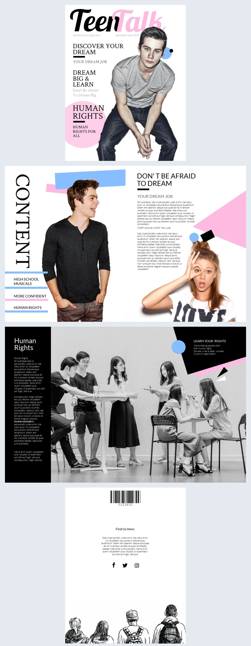 Modelo e Design de Revista Teen
