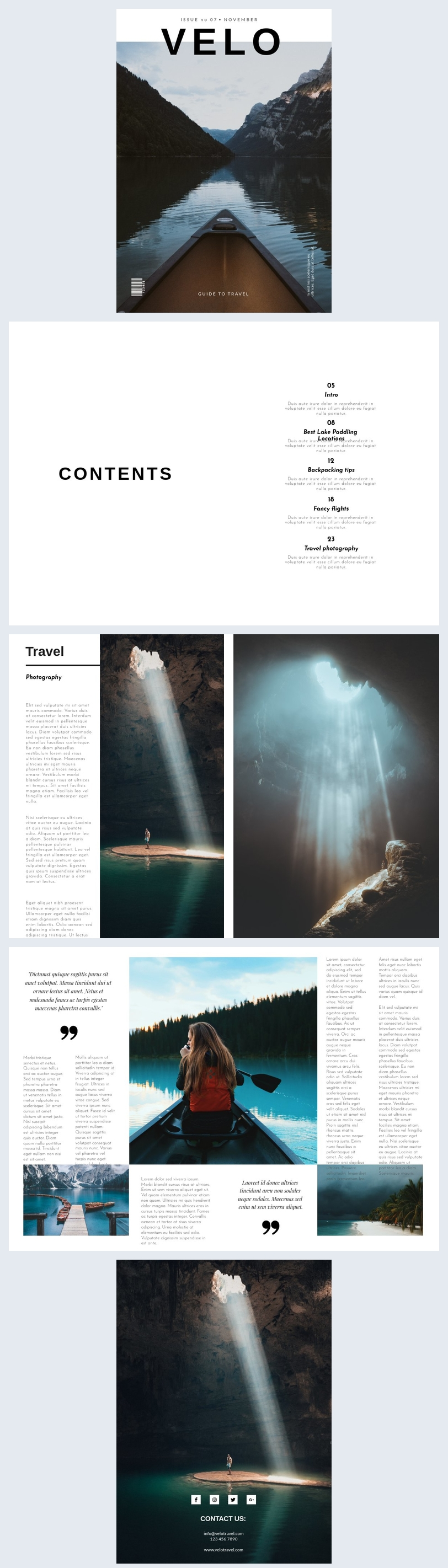 Minimalist Travel Magazine Template Design