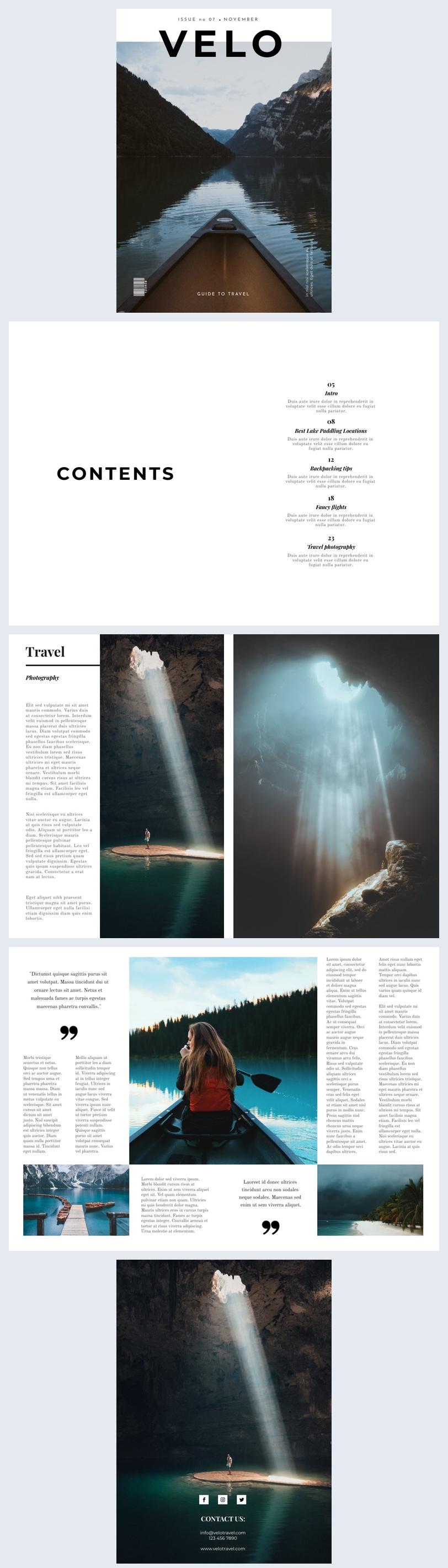 Minimalistisches Reisemagazin-Vorlagendesign