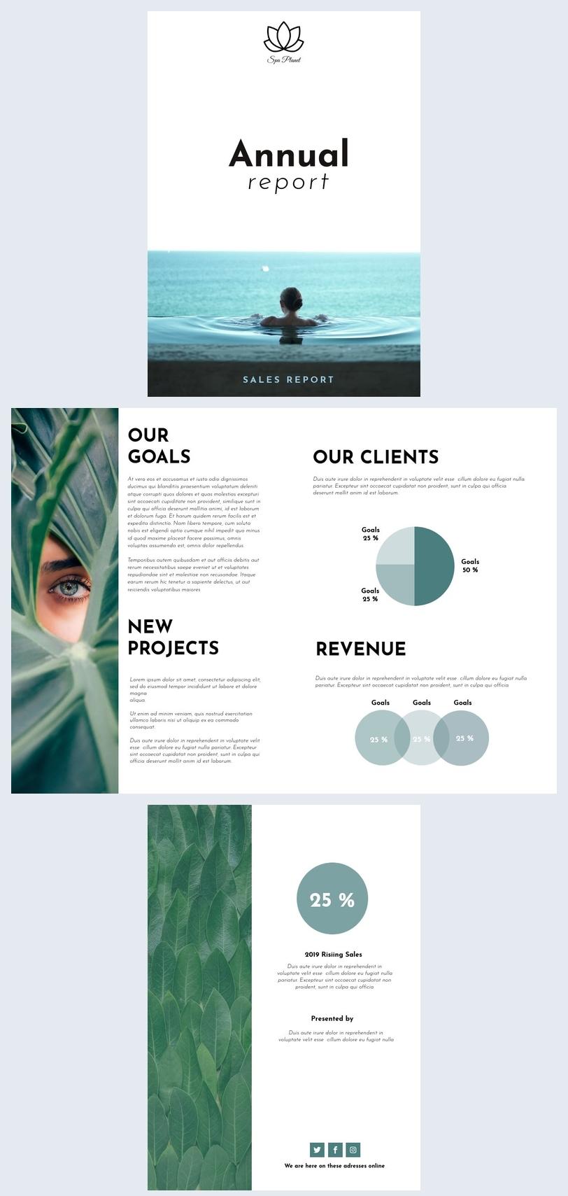 Design moderno per report commerciale annuale