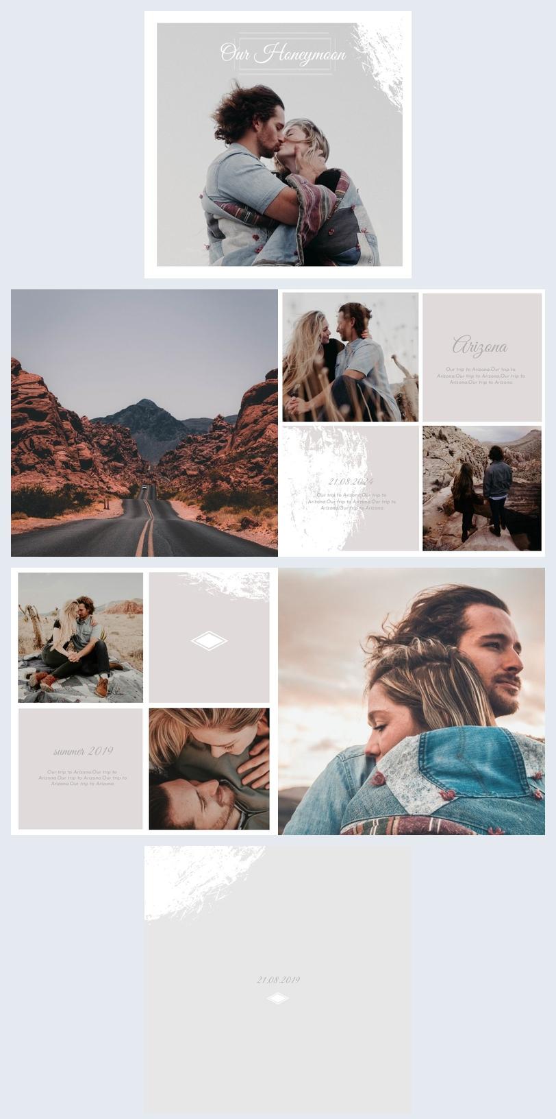 Modello moderno di album fotografico per luna di miele
