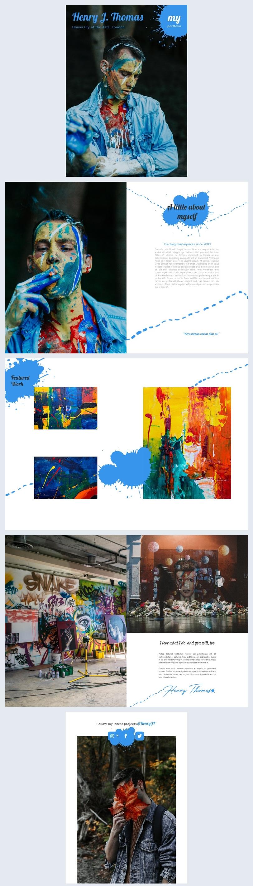 Modello di portfolio per artista