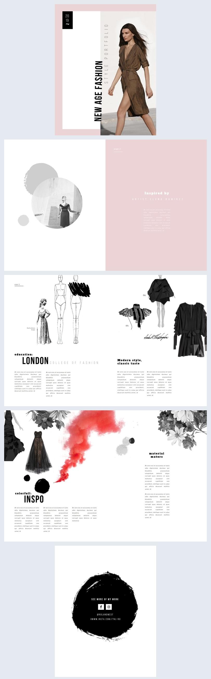 Modello per portfolio di moda