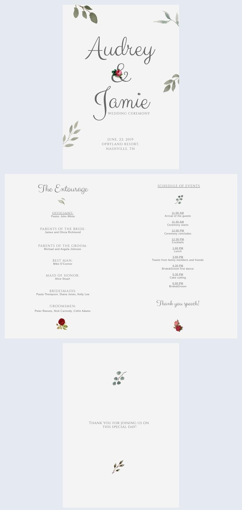 DIY Hochzeitsprogrammvorlage
