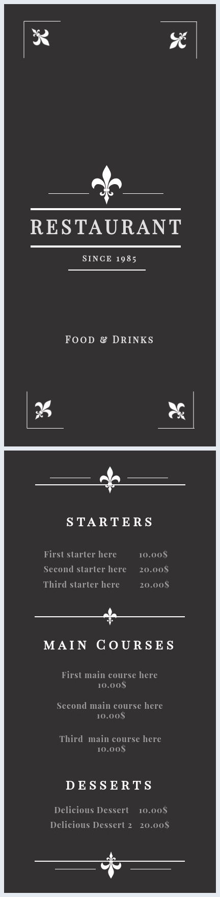 Dining Menu Template