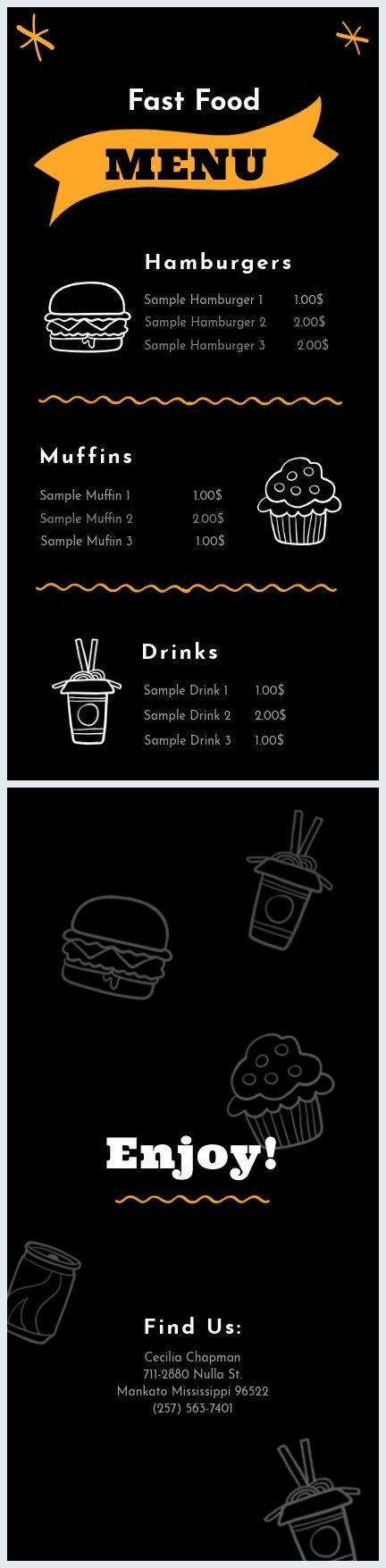 Fast food Menu Sjabloon