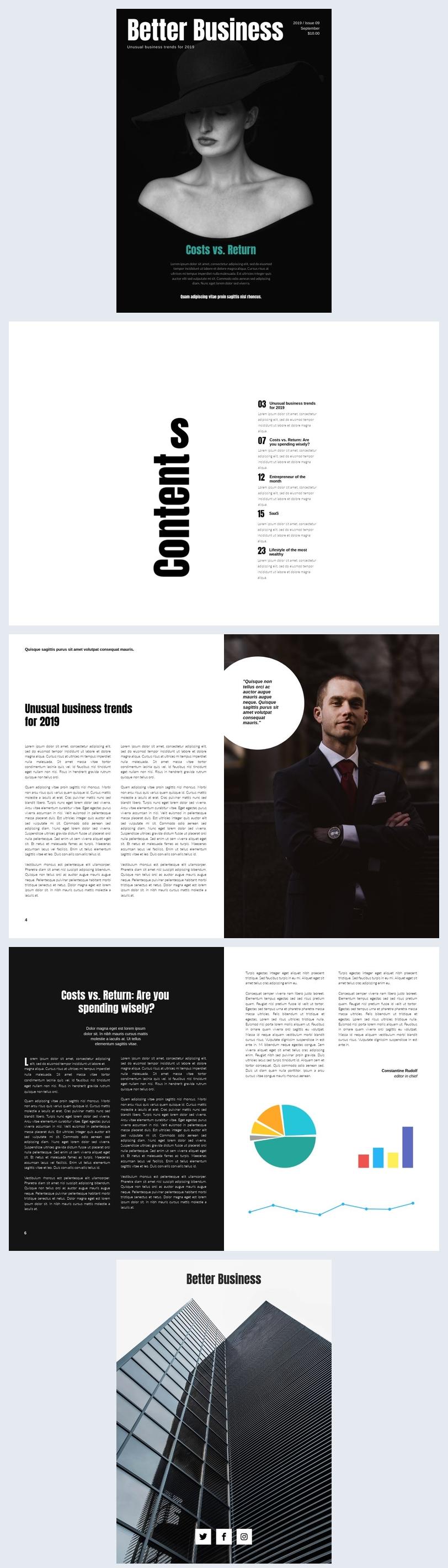 Mise en page magazine d'affaires
