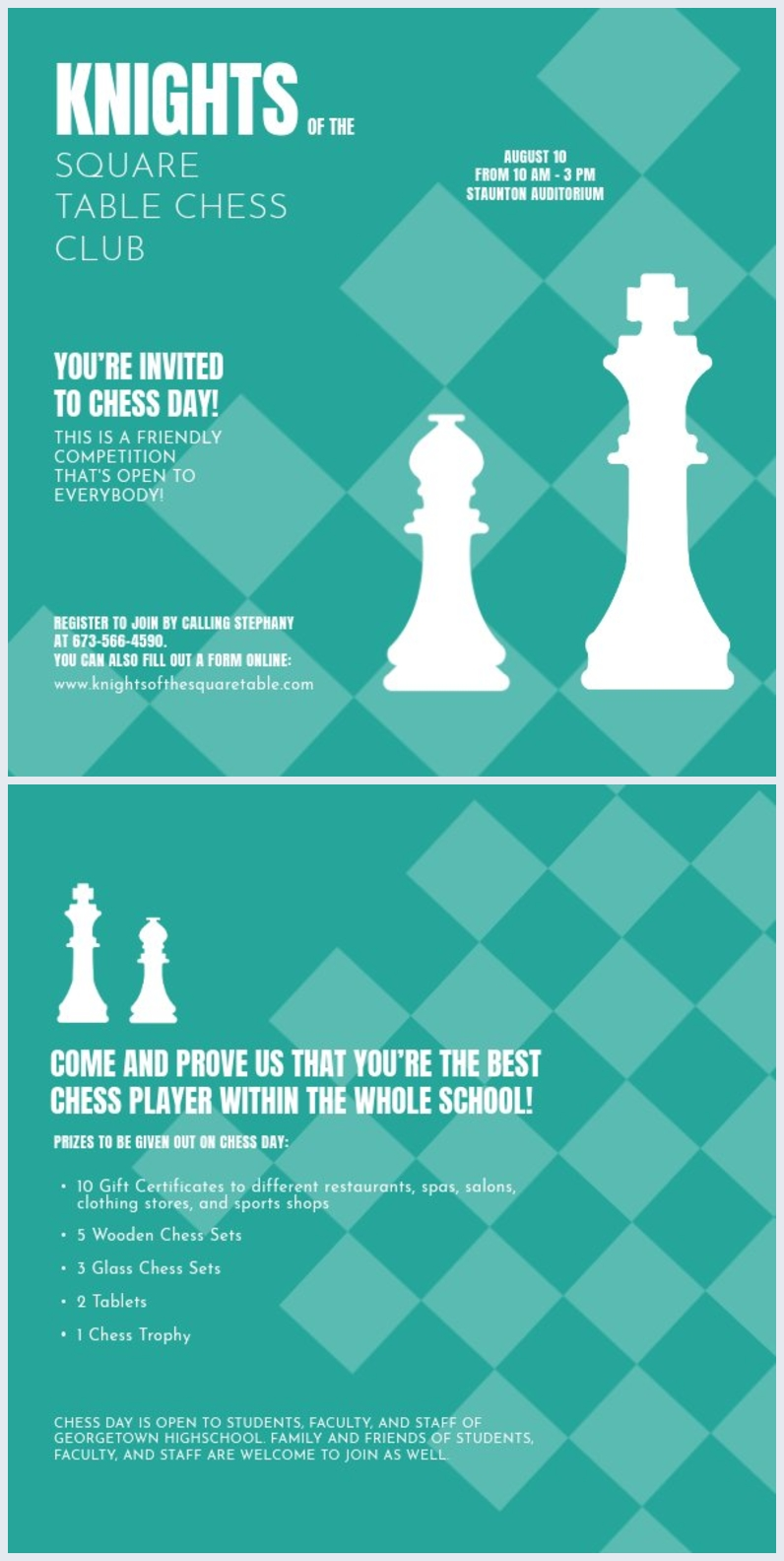 green chess club flyer template