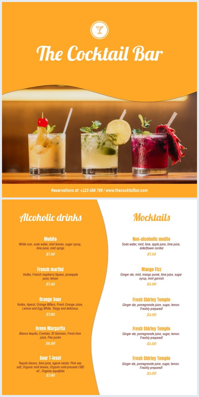 Cocktail menu Sjabloon