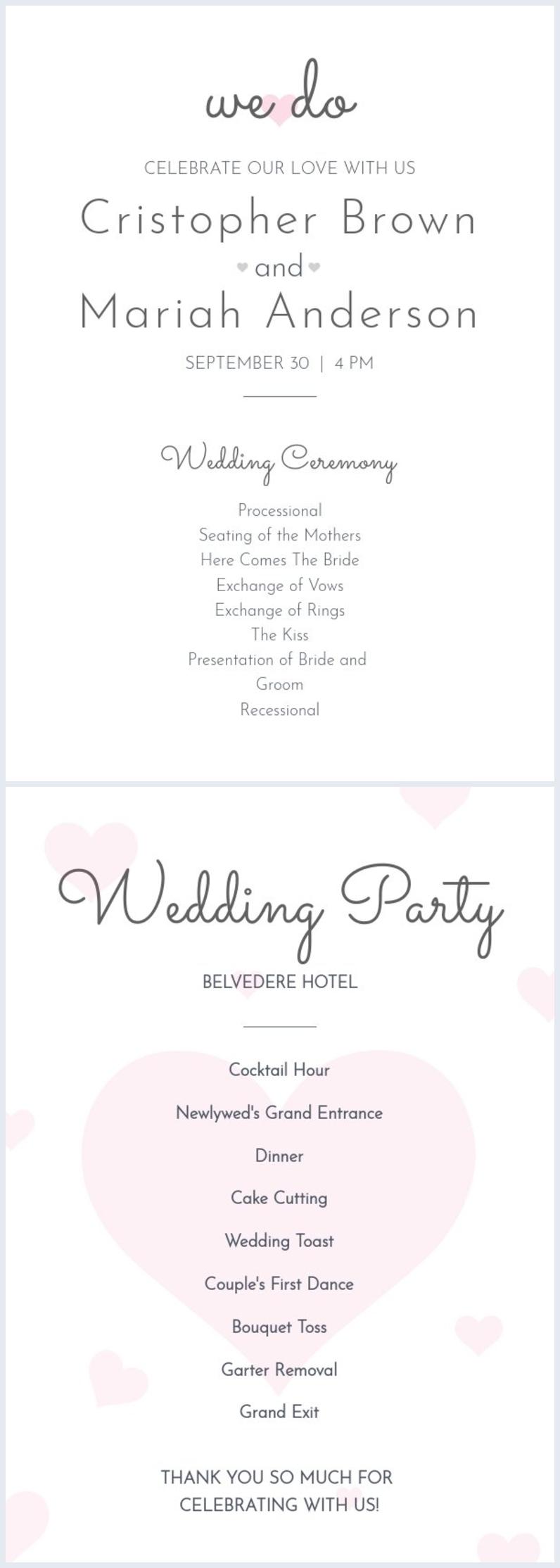 Programa de bodas en el ventilador