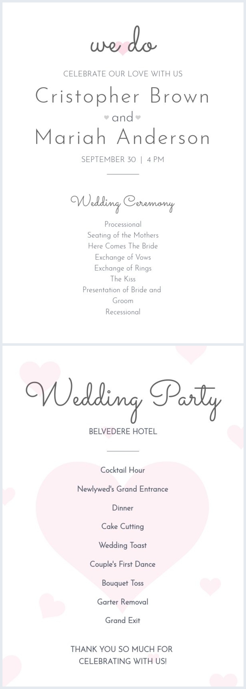 Free Minimalist Wedding Program Fan Template Flipsnack