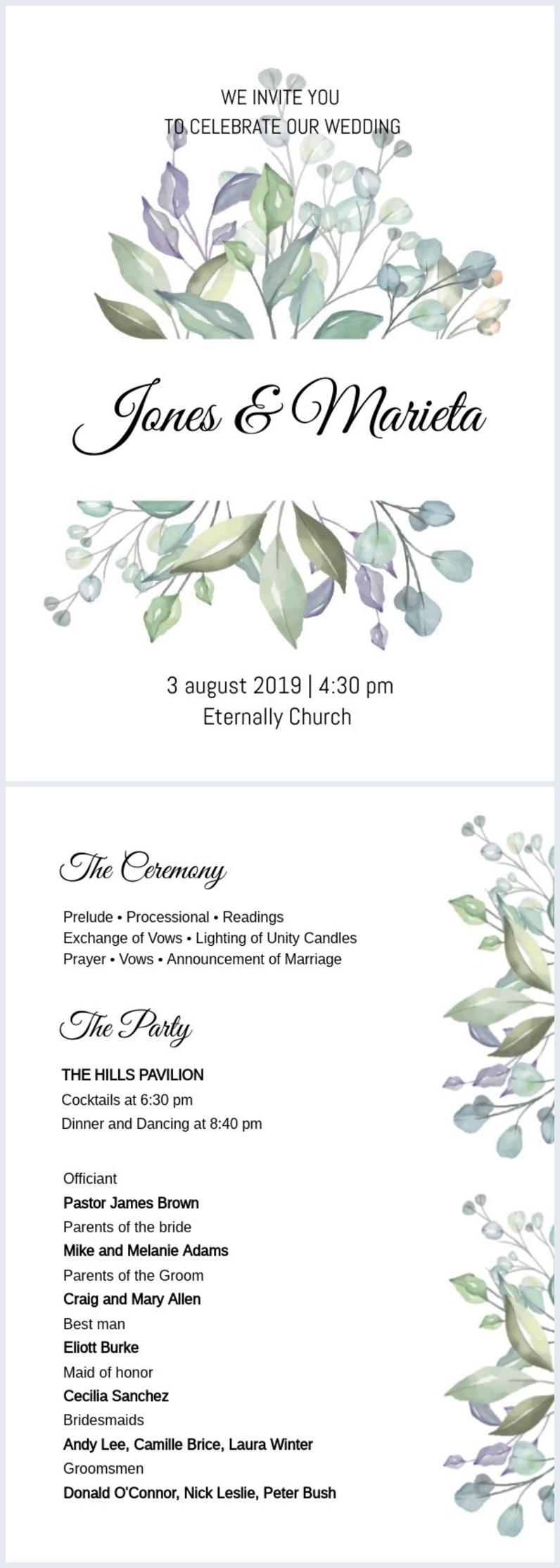 Catholic Wedding Program