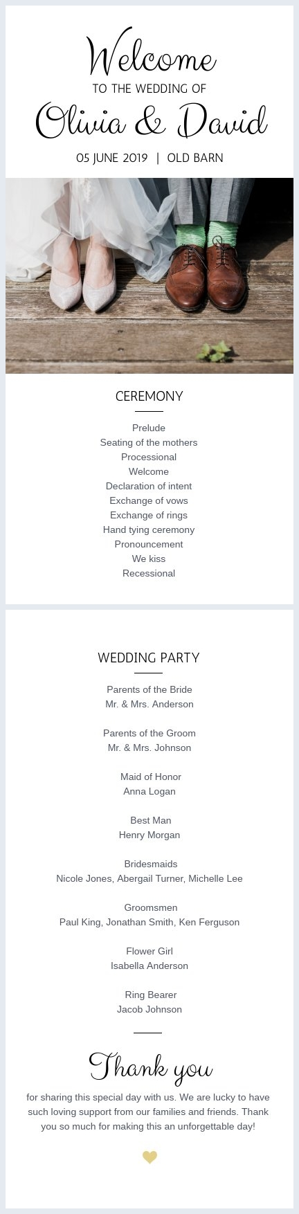 Traditional Wedding Program