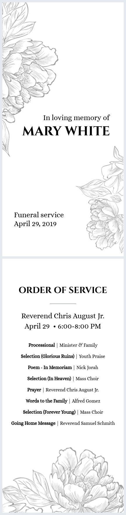 Modèle vierge de programme de funérailles