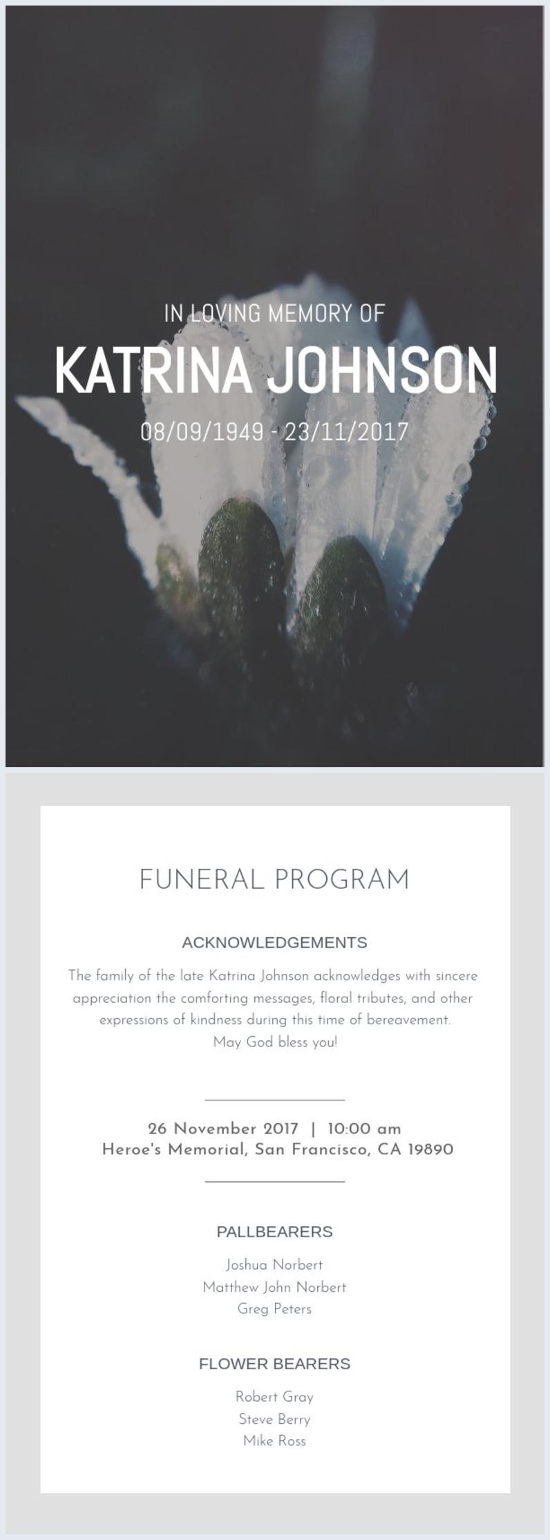 Muestra para programa funerario