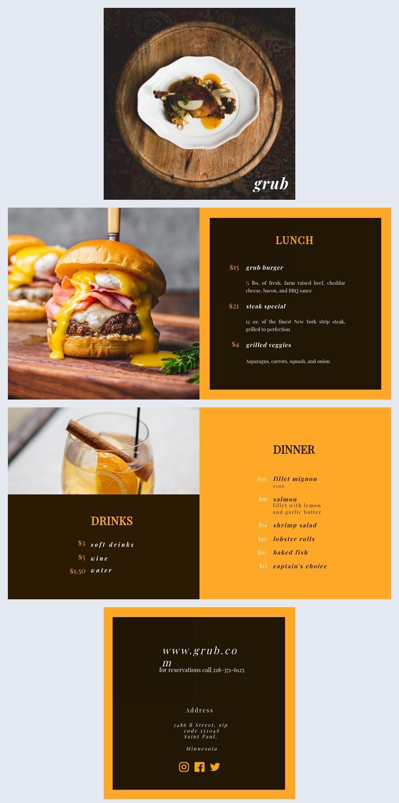 Design de menu de restaurant moderne