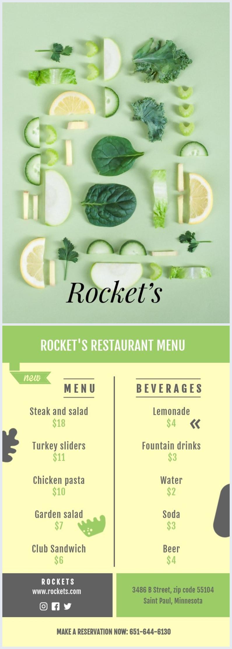 Carte de menu de restaurant
