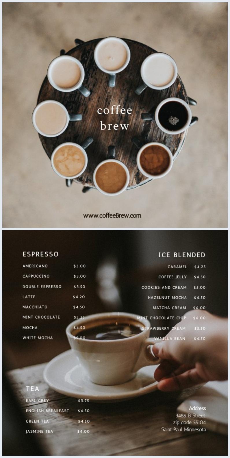 Plantilla para menú de cafetería