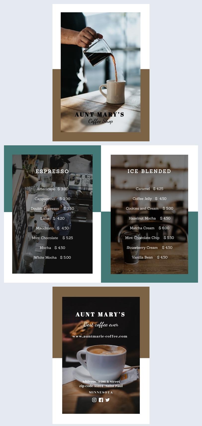 Café-Speisekartenvorlage