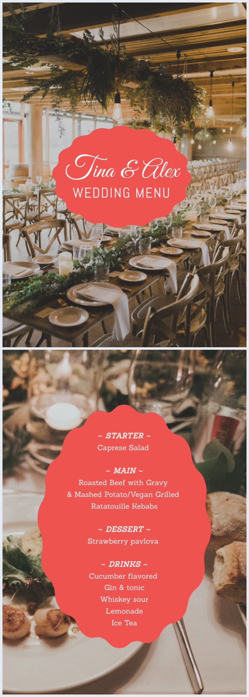 Plantilla para carta menú de bodas